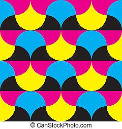 Cyan, magenta yellow, black hypnotic shapes background