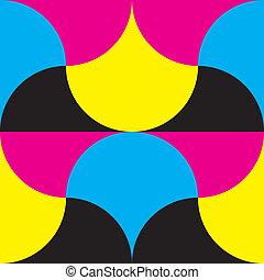 Cyan, magenta yellow, black hypnotic shapes