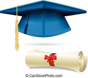 Cyan mortarboard and diploma - graduation cap