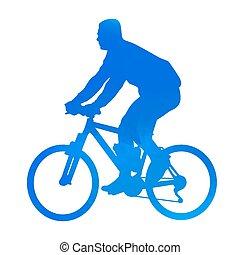 Cyan mountain biker. Vector silhouette