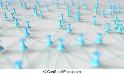 Cyan pins and threads compose a network on a pinboard - Cyan...