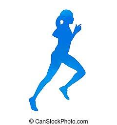 Cyan running woman. Vector silhouette