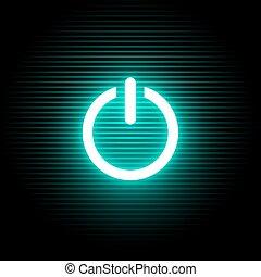 cyan, símbolo, ativar, luz