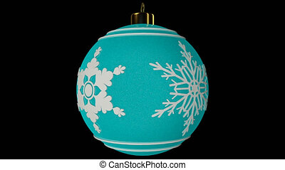 Cyan Spinning Christmas Ball With Snowflakes