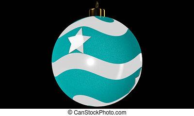 Cyan Spinning Christmas Ball With Stars