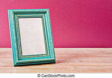 Cyan vintage photo frame.