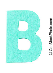 """cyan wooden alphabet capital letter """"B"""" isolated on white background"""