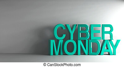 Cyan words Cyber Monday on grey background, three-...