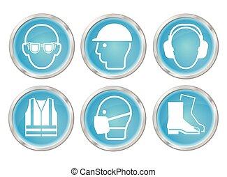 cyan, zdrowie i bezpieczeństwo, ikony