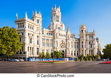MADRID, SPAIN - SEPTEMBER 20, 2017: The Cybele Palace or Palacio de Cibeles is a palace located on the Plaza de Cibeles in Madrid city centre, Spain.