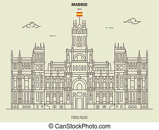 Cybele Palace in Madrid, Spain. Landmark icon in linear style
