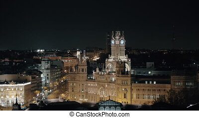 Cybele Palace night view in Madrid, Spain - Madrid night...