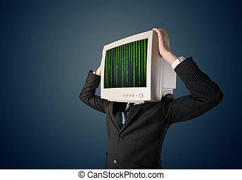 cyber, ビジネス, 人間, ∥で∥, a, モニター, スクリーン, そして, 計算機コード, 上に, ∥,...