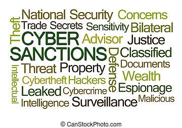 cyber, 制裁, 単語, 雲