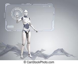 cyber, 女孩, 是, 工作, 由于, 巨大, 屏幕, 由于, 數据