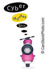 cyber, 旗, モーターバイク, 月曜日, セール