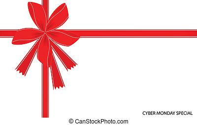 cyber, 月曜日, リボン, 特別, カード, 赤