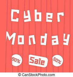 cyber, 赤, ストライプ, 月曜日, セール