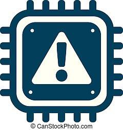 cyber, allarme, vettore, sicurezza, segno, cpu, icona