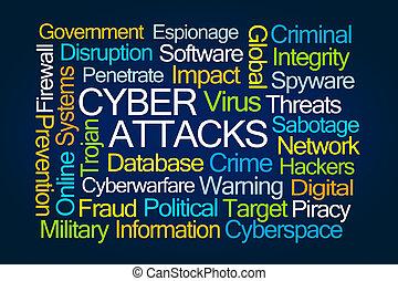 cyber, ataques, palavra, nuvem