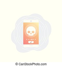 cyber attack alert, mobile phone security, vector icon, eps 10 file, easy to edit