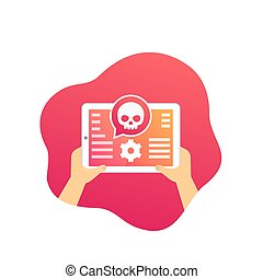 cyber attack alert, mobile security vector icon with tablet, eps 10 file, easy to edit