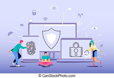 Concept of Antivirus software, data protection and cyber security. Digital protection system privacy program from hacking, web crime and virus attack. Flat Art Vector Illustration