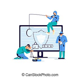 Concept of cyber attack and phishing scam. Digital thiefs steals money or password, private personal data, credentials from an electronic account. Flat Art Vector Illustration