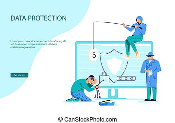 Landing webpage template of cyber attack and phishing scam. Digital thiefs steals money or password, private personal data, credentials from an electronic account. Flat Art Vector Illustration