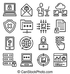 Cyber Attack and Virus Digital Protection Icons. Line Style Vector illustration