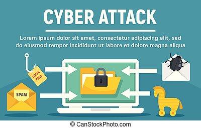 Cyber attack concept banner. Flat illustration of cyber attack vector concept banner for web design