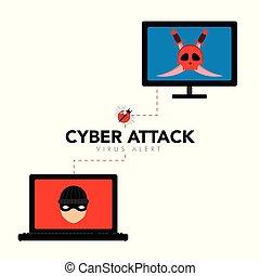 Cyber attack concept graphic design. Vector illustration