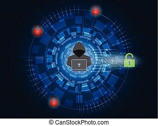 Cyber attack concept, Hacker unlock padlock on digital background