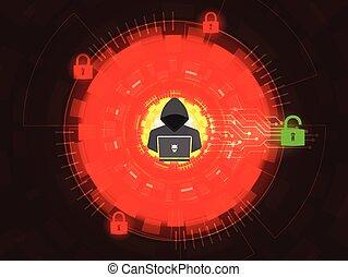 Cyber attack concept  Hacker unlock padlock on digital background