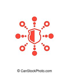 cyber attack, ddos vector icon on white, eps 10 file, easy to edit