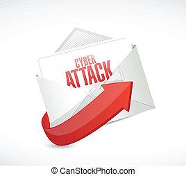 cyber attack email envelope illustration design over a white background