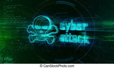 Cyber attack hologram concept with skull