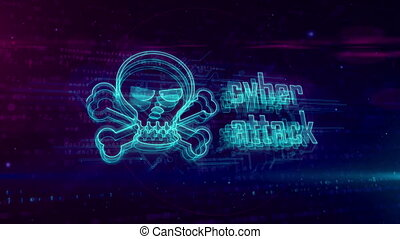 Cyber attack hologram loppable concept with skull - Cyber...