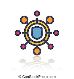 cyber attack icon in flat style with outline over white, vector illustration
