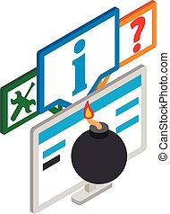 Cyber attack icon. Isometric illustration of cyber attack vector icon for web