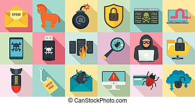Cyber attack icons set, flat style