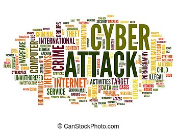 Cyber attack in word tag cloud - Cyber attack concept in...