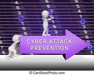 Cyber Attack Prevention Security Firewall 3d Rendering