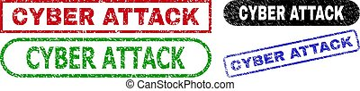 CYBER ATTACK grunge watermarks. Flat vector grunge stamps with CYBER ATTACK text inside different rectangle and rounded frames, in blue, red, green, black color variants. Imprints with grunge surface.