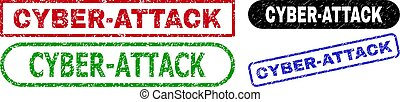 CYBER-ATTACK grunge seal stamps. Flat vector distress seal stamps with CYBER-ATTACK caption inside different rectangle and rounded frames, in blue, red, green, black color variants.