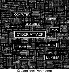 CYBER ATTACK. Seamless pattern. Word cloud illustration.