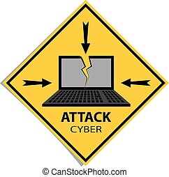 Cyber attack sign in yellow warning rectangle.