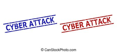 Blue and red CYBER ATTACK watermarks on a white background. Flat vector scratched watermarks with CYBER ATTACK message inside parallel lines. Watermarks with scratched surface.