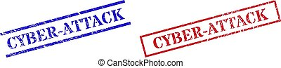 Grunge CYBER-ATTACK seal stamps in red and blue colors. Stamps have rubber texture. Vector rubber imitations with CYBER-ATTACK tag inside rectangle frame, or parallel lines.