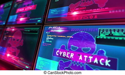 Hacking, breach security system, cybercrime, piracy, digital safety and identity theft concept. Cyber attack warning with skull symbol on computer screens. 3d loopable and seamless animation.